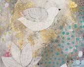 Bird Art , Flower Painting , Acrylic Bird Painting , Mixed Media Collage Painting , Large Wall Art Original