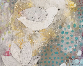 Bird Art , Flower Painting , Acrylic Bird Painting , Mixed Media Collage Painting , Large Wall Art Original
