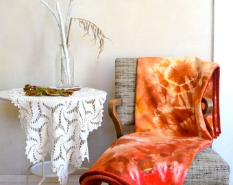 Hand Dyed Wool Orange Throw Blanket / Eco Natural Dye 100% Wool Autumn Shades Tie Dye