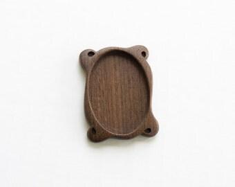 Highly detailed finished miniframe bezel hardwood - Walnut - 32 x 45 mm - (C6-W)