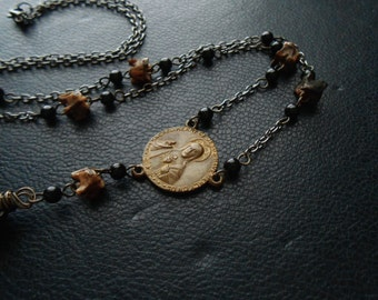 new baptism - repurposed assemblage rosary necklace - antique rosary with snake vertebrae bone handmade edgy satanic occult jewelry