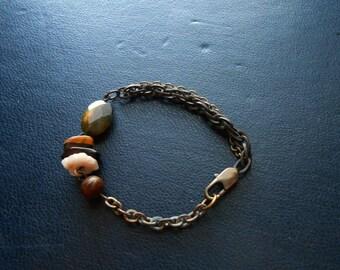 hemlock - organic earth tone gemstone assemblage bracelets - earthy boho occult festival fashion