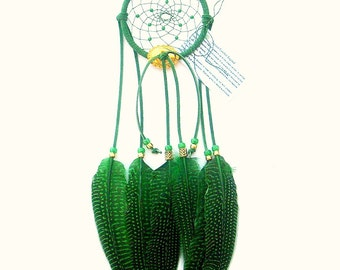 Jade Green Dream Catcher, Guinea Hen Feathers
