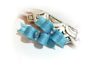 Puppy Dog Bows Small Blue Dog Hair Bow with Glitter & Rhinestones