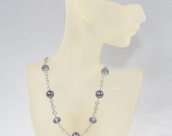 Glass Pearl and Crystal Necklace