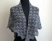 Crochet Lace Shawl Scarf Wrap Cowl, Stylish Comfort Prayer Meditation, Womens Fashion, Grey Sparkle, FREE SHIPPING, Ready to Ship
