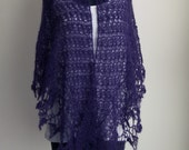 Crochet Lace Shawl Scarf Wrap Cowl, Stylish Comfort Prayer Meditation, Women's Fashion, Purple, Mohair Silk, FREE SHIPPING Ready to Ship