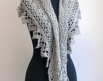 SALE - Crochet Lace Shawl Scarf Wrap Cowl, Comfort Prayer Meditation, Wedding Bridal, Ultra-luxe Alpaca Silk, FREE SHIPPING, Ready to Ship