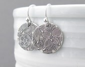 Tiny Sterling Silver Earrings Sterling Silver Jewelry Silver Dangle Earrings Floral Jewelry Bohemian Jewelry Rustic Jewelry - Unique Petites