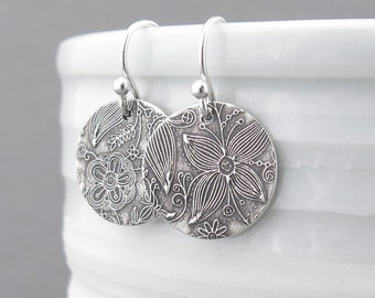Small Silver Earrings Sterling Silver Jewelry Silver Dangle Earrings Summer Outdoors Bohemian Jewelry Rustic Jewelry - Unique Petites