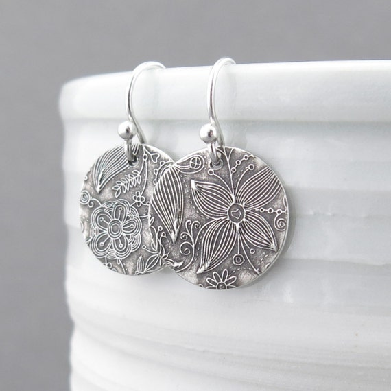 Tiny Sterling Silver Earrings Sterling Silver Jewelry Dangle Silver Earrings Floral Jewelry Bohemian Jewelry Rustic Jewelry - Unique Petites