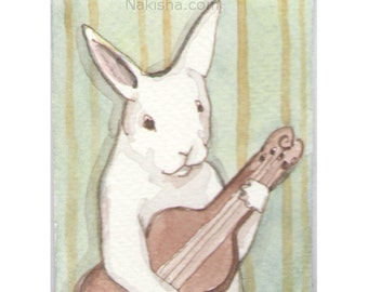 Original Watercolor Rabbit Painting - ACEO - New Tune