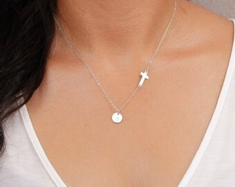Silver Sideways Cross Necklace and Initial Charm. SMALL Cross. Monogram Necklace. Personalized Mother Jewelry. Horizontal Cross Necklace
