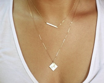 Diamond Shaped Necklace, Initial Pendant Name Plate Necklace, Personalized Square Necklace, Simple Minimal  Necklace, Geometric Jewelry