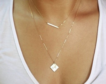 Layering Necklace, Silver Skinny Bar Necklace, Diamond Shaped Necklace, Personalized Jewelry, Initial Necklace, Dainty Layered Necklace Gold