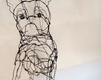 French Bulldog Puppy-Wire Drawing Sculpture Art