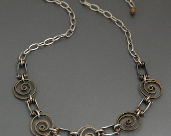 Hammered Spiral Necklace, sterling silver and brass, mixed metal, industrial, organic, hand forged