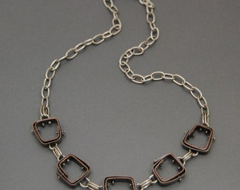Copper Necklace, mixed metal, geometric, riveted chain, steampunk, artisan jewelry, statement necklace
