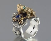 BEFORE THE KISS the Frog Prince ring in silver and 14k gold with emeralds moonstones and blue sapphire