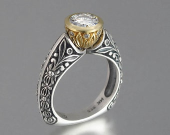 Crowned Countess ring in 14k yellow gold and sterling silver with Moissanites