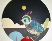 Night Bird - Original Round Acrylic Bird Art Painting