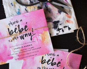 there's a bébé on the way! | customizable baby shower or sprinkle invitations