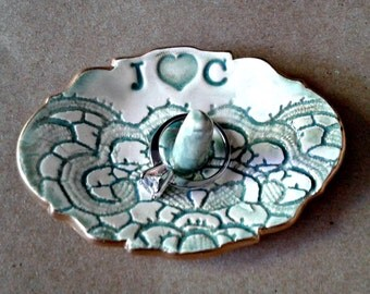Personalized Ceramic Ring Holder edged in gold MADE TO ORDER