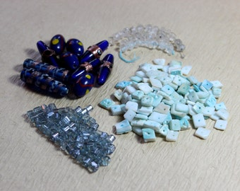Blue Beads Assortment Variety Mixed Lot Destash Blue Gemstone Beads Topaz Shell Glass Beads Jewelry Making