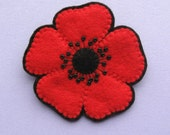 Large Red Poppy Brooch, beaded felt flower brooch