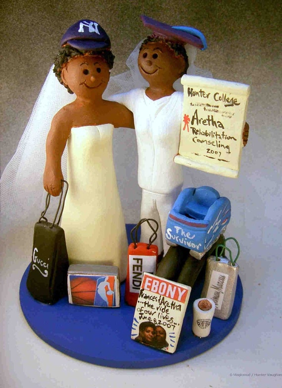 African American Lesbians Wedding Cake Topper Same Sex-8730