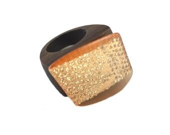 Vintage Italian Lucite Tilt Hipster Wood Ring