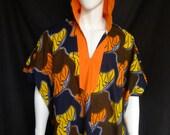 Spirit World Poncho© Morning Glories African Wax Print, Menswear, Festival Clothing, OOAK, Caftan
