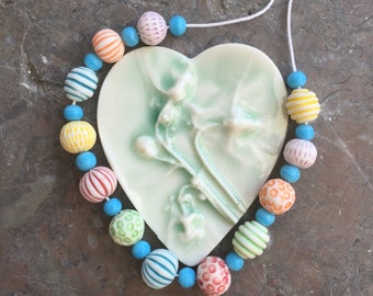 Bright Carnival handmade porcelain bead necklace -sale
