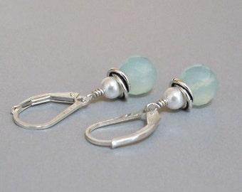 Ocean Chalcedony Earrings Swarovski Glass Pearl Sterling Silver Drop Dangle DJStrang Boho Cottage Chic Beach