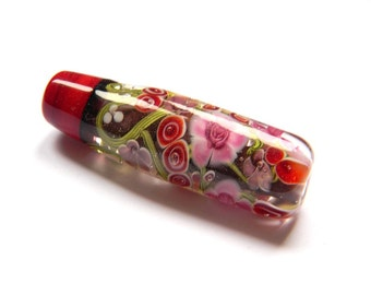 Lampwork Glass Bead - Tube red burgundy flowers with chocolate base - Fragrance Cloud Collection