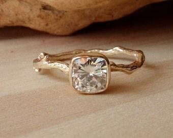 Antique Square Moissanite Branch Ring