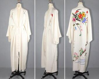 silk kimono / embroidered / TUILERIES vintage floral kimono