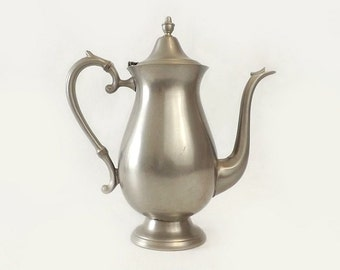 Vintage F B Rogers Pewter Coffee Pot, Tall Teapot, Mid Century Kitchen Serving