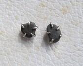 Beach Stone Earrings Silver Stud Earrings Unisex Rough black pebble post earrings