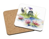 Coasters Mix & Match - Lotus - woman meditation water flower energy watercolor painting Oladesign