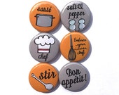 Chef Magnet or Pinback Button Set - Embrace Your Inner Chef, cook, kitchen fridge magnet, decor, bon appetit, cooking, pins, food, foodie