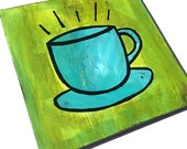 Coffee Time - Original Mixed Media Collage Painting - blue cup and saucer on green, kitchen art, food art, wall decor - Claudine Intner