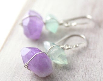 Chalcedony and Amethyst Wrapped Stone Earrings Silver