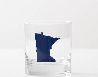 Minnesota navy BLUE pint glass SCREEN PRINTED single rocks glass