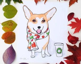 Pembroke Welsh Corgi, Corgi Dog Lover Gifts, Fall Decor, Funny Animal Art Print, Cute Corgi, Corgi Decor, Corgi Funny, College Student Gift