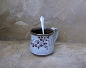 Mug Cup - Handmade Stoneware Ceramic Pottery - White and Rich Brown - Branch - 12 ounce