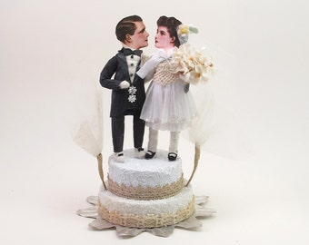 READY TO SHIP Vintage Style Spun Cotton Bride and Groom Wedding Topper Ooak
