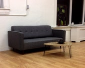 BOKZ button back sofa with arm rests BSA    Mid Century Modern Eames Era Dannish Classic Design