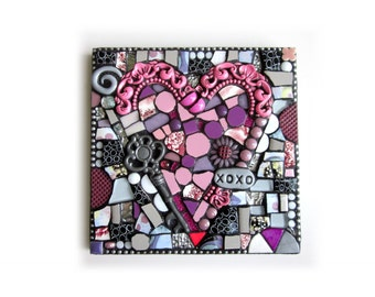 XOXO. (Original Handmade Mixed Media Mosaic Wall Hanging by Shawn DuBois)