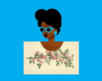 Postcard Girl Art in Blue, (African American Blue Fashion Art, Woman in Floral Illustration) 12x12 Square Print